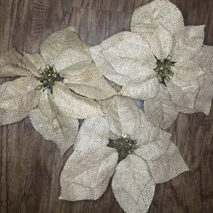 Other - Rustic Burlap and Gold Glitter Poinsettia Flowers